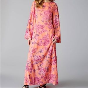 Free People Melrose Bell Sleeve Pink/Coral Maxi